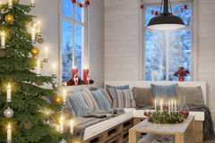 3d - scandinavian flat - christmas Stock Photography