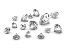 3d Scattered diamonds Royalty Free Stock Photo