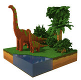 3d scene with dinosaurs Stock Images