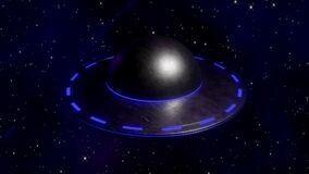 3D scene flying saucer flying to the ground