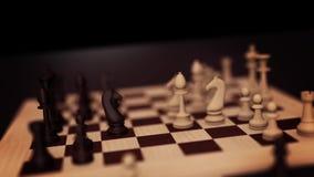 3D schaakconcept Schaakraad met schaakstukkenlijn met alpha- Het spelanimatie van de schaakraad Schaakraad met stukken royalty-vrije illustratie