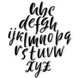 3d Schetsdoopvont Kalligrafie het van letters voorzien Alfabet in kleine letters op witte achtergrond Vector illustratie Royalty-vrije Illustratie