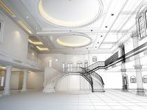 3d schetsontwerp van binnenlandse zaal, geeft terug Stock Afbeeldingen