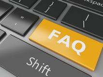 3d schließen herauf Ansicht von Tastatur FAQ-Knopf Lizenzfreies Stockbild