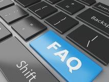 3d schließen herauf Ansicht von Tastatur FAQ-Knopf Stockfotografie