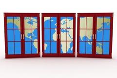 3d schloss Plastikfenster mit Karte der Welt Lizenzfreies Stockfoto