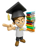 3D Scholar Man Mascot is anger and holding a books. Work and Job Royalty Free Stock Photography