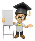 3D Scholar Man Mascot is concise explanation of a whiteboard. Wo Stock Image