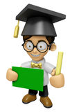 3D Scholar Man Mascot hand is holding a Chalk and Chalkboard. Wo Royalty Free Stock Image