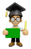 3D Scholar Man Mascot hand is holding a Chalk and Chalkboard. Wo Royalty Free Stock Images