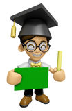 3D Scholar Man Mascot hand is holding a Chalk and Chalkboard. Wo Stock Photography