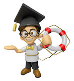 3D Scholar Man Mascot the hand is holding a Lifebelt. Work and J Stock Image