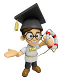 3D Scholar Man Mascot the hand is holding a Lifebelt. Work and J Royalty Free Stock Photography