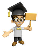 3D Scholar Man Mascot the hand is holding a picket. Work and Job Royalty Free Stock Image