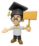 3D Scholar Man Mascot the hand is holding a picket. Work and Job Royalty Free Stock Images