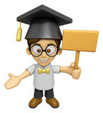 3D Scholar Man Mascot the hand is holding a picket. Work and Job Stock Photos