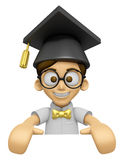 3D Scholar Man Mascot holding a big board with both hands. Work Stock Image