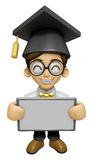 3D Scholar Man Mascot holding a big board with both hands. Work Royalty Free Stock Photo