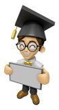 3D Scholar Man Mascot holding a big board with both hands. Work Stock Images