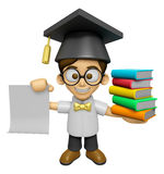 3D Scholar Man Mascot is holding a pile of books. Work and Job C Stock Photo