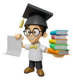 3D Scholar Man Mascot is holding a pile of books. Work and Job C Royalty Free Stock Photography
