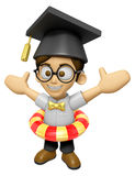 3D Scholar Man Mascot is played in the pool on a tube. Work and Royalty Free Stock Photos