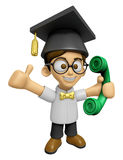 3D Scholar Man Mascot Please call me today. Work and Job Charact Royalty Free Stock Photography