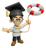 3D Scholar Man Mascot is throwing a Lifebelt. Work and Job Chara Stock Photos