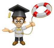 3D Scholar Man Mascot is throwing a Lifebelt. Work and Job Chara Stock Image