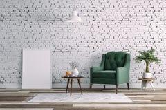 3d schone binnenlandse ruimte met groene stoel en witte muur Stock Afbeeldingen
