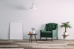 3d schone binnenlandse ruimte met groene stoel en witte muur Royalty-vrije Stock Afbeelding