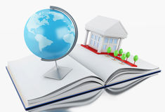 3d School accessories on a opened book. 3d illustration. Stack of book with graduation cap, notebook, globe, rolled diploma and university building. Education Stock Images
