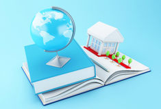 3d School accessories on a opened book. 3d illustration. Stack of book with graduation cap, notebook, globe, rolled diploma and university building. Education Royalty Free Stock Photography