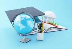 3d School accessories on a opened book. 3d illustration. Stack of book with graduation cap, notebook, globe, rolled diploma and university building. Education Royalty Free Stock Image
