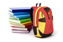 3d school backpack and books Stock Images