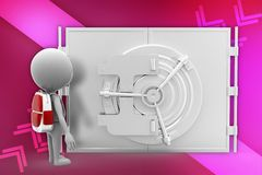 3d school boy in front of  safe locker illustration Royalty Free Stock Images