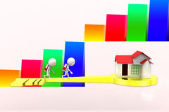 3d School Boy House Key Illustration Royalty Free Stock Photo