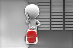3d school boy with school bag illustration Royalty Free Stock Images