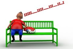3d school boy sleeping on bench Stock Images