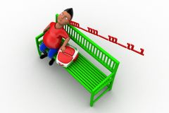 3d school boy sleeping on bench Stock Photo