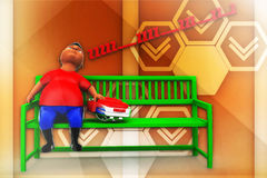 3d school boy sleeping on bench illustration Royalty Free Stock Photography