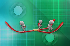 3d school boys walking in different directions illustration Stock Images