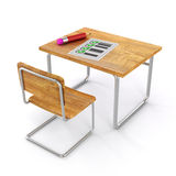 3d school desk and chair. On white background Royalty Free Stock Images