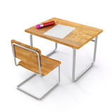 3d school desk and chair. On white background Royalty Free Stock Image