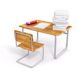 3d school desk and chair. On white background Royalty Free Stock Photo
