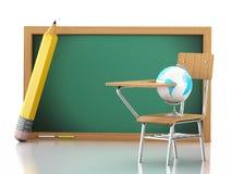 3D School desk, globe and blackboard Stock Photo