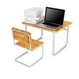 3d school desk and laptop. On white background Royalty Free Stock Images