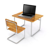 3d school desk and laptop. On white background Stock Photos