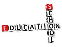 3D School Education Crossword Stock Image