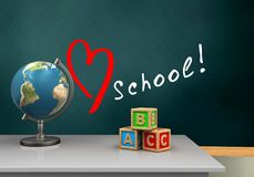 3d schoolboard. 3d illustration of schoolboard with love school text and abc cubes Stock Photography